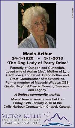 6744454aa Mavis Arthur 24-1-1920  3-1-2018 `The Dog Lady of Perry Drive' Formerly of Dunoon and...