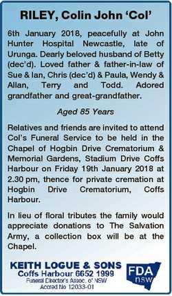 RILEY, Colin John `Col' 6th January 2018, peacefully at John Hunter Hospital Newcastle, late of...