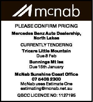 Mercedes Benz Auto Dealership, North Lakes CURRENTLY TENDERING Tricare Little Mountain Due 8 Feb...