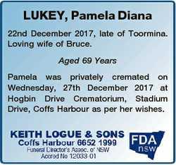 LUKEY, Pamela Diana 22nd December 2017, late of Toormina. Loving wife of Bruce. Aged 69 Years Pamela...