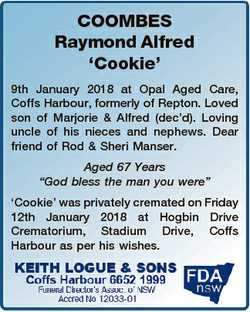 COOMBES Raymond Alfred `Cookie' 9th January 2018 at Opal Aged Care, Coffs Harbour, formerly of R...