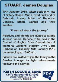 STUART, James Douglas 10th January 2018, taken suddenly, late of Safety Beach. Much loved husband of...