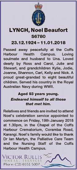 LYNCH, Noel Beaufort S6780 23.12.1924 - 11.01.2018 Passed away peacefully at the Coffs Harbour Healt...