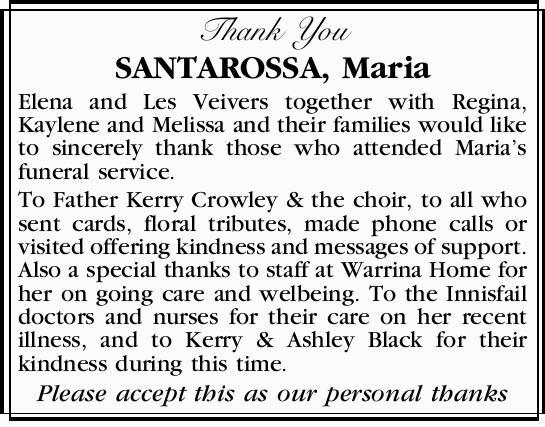 Thank You   SANTAROSSA, Maria   Elena and Les Veivers together with Regina, Kaylene and M...