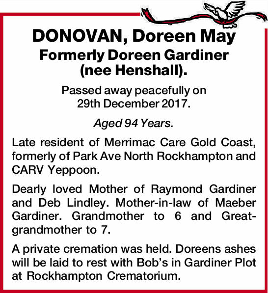 Formerly Doreen Gardiner (nee Henshall).
