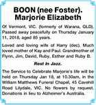 BOON (nee Foster). Marjorie Elizabeth
