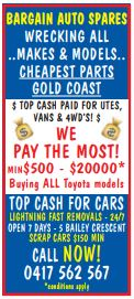 BARGAIN AUTO SPARES    WRECKING ALL MAKES AND MODELS  CHEAPEST PARTS ON THE GOLD COAS...