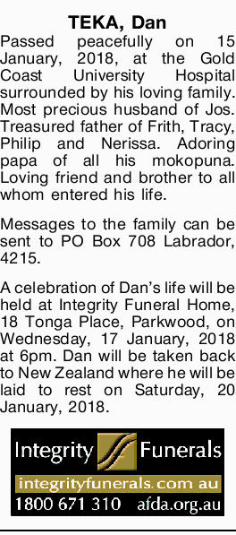TEKA, Dan