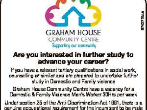 6742718aa Are you interested in further study to advance your career? If you have a relevant tertiary qualifications in social work, counselling or similar and are prepared to undertake further study in Domestic and Family violence Graham House Community Centre have a vacancy for a Domestic & Family Violence Men's ...
