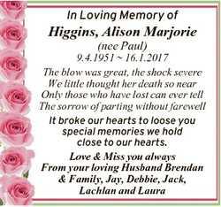 In Loving Memory of Higgins, Alison Marjorie (nee Paul) 9.4.1951  16.1.2017 The blow was great, the...