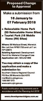 Proposed Change to Approval Make a submission from 16 January to 07 February 2018 > Relocatable Home Park (33 Relocatable Home Sites) > Tourist Park (16 Mobile Home (RV) Sites) Where: 98 Wallace Street, Warwick On: Lot 2 on RP901732 and Lot 1 on RP125874 Existing Approval: Development Permit for Material Change ...
