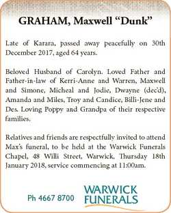 "GRAHAM, Maxwell ""Dunk"" Late of Karara, passed away peacefully on 30th December 2017, aged..."