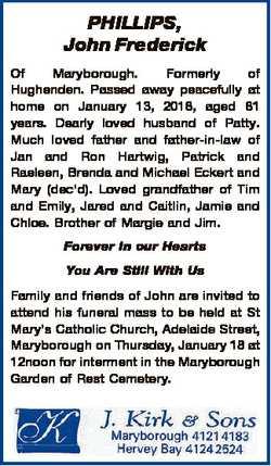 PHILLIPS, John Frederick Of Maryborough. Formerly of Hughenden. Passed away peacefully at home on Ja...