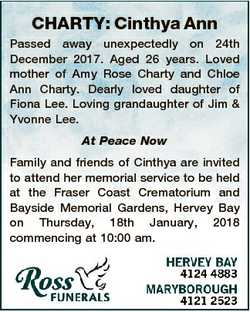 CHARTY: Cinthya Ann Passed away unexpectedly on 24th December 2017. Aged 26 years. Loved mother of A...