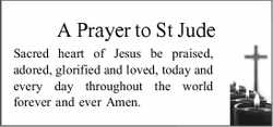 A Prayer to St Jude Sacred heart of Jesus be praised, adored, glorified and loved, today and ever...
