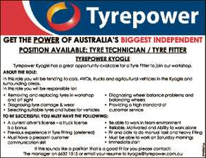 GET THE POWER OF AUSTRALIA'S BIGGEST INDEPENDENT POSITION AVAILABLE: TYRE TECHNICIAN / TYRE FITTER TYREPOWER KYOGLE Tyrepower Kyogle has a great opportunity available for a Tyre Fitter to join our workshop. ABOUT THE ROLE: In this role you will be tending to cars, 4WDs, trucks and agricultural vehicles in the ...
