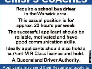 Require a school bus driver in the Warwick area. This casual position is for approx. 20 hours per week. The successful applicant should be reliable, motivated and have good communication skills. Ideally applicants should also hold a current M R Class licence and hold. A Queensland Driver Authority. 6746635aa CRISPS ...