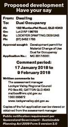 Proposed development Have your say From: Dwelling To: Dual Occupancy At: On: By: Ph: 182 Manteuffel Road, QLD 4343 Lot 2 RP 196769 LOCKYER DRAFTING DESIGNS (07) 5462 1785 Approval sought: Development permit for Material Change of Use Dual for Occupancy Application No.: MC 2017/0051 Comment period: 17 January ...