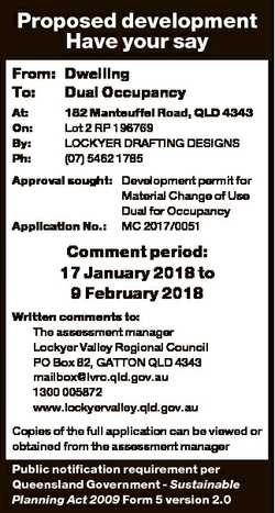Proposed development Have your say From: Dwelling To: Dual Occupancy At: On: By: Ph: 182 Manteuffel...