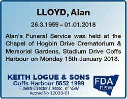 LLOYD, Alan 26.3.1959 - 01.01.2018 Alan's Funeral Service was held at the Chapel of Hogbin Drive...