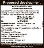 Proposed development 6748531ab Make a submission from 17/01/2018 to 08/02/2018 Application for Low Impact Industry (Extension to existing car wash Two (2) additional bays, One (1) Auto wash bay, Dog wash and Plant room) At: 10 Condamine Street, Warwick, Qld, 4370 On: Lot 2 W13468 Approval ...