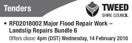 RFO2018002 Major Flood Repair Work - Landslip Repairs Bundle 6   Offers close: 4pm (DST)...