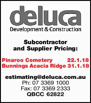 Subcontractor and Supplier Pricing:   Pinaroo Cemetery 22.1.18   Bunnings Acacia Ridge 31...