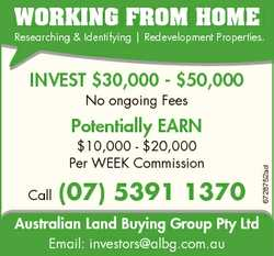 WORKING FROM HOME Researching & Identifying | Redevelopment Properties. INVEST $30,000 - $50,000...