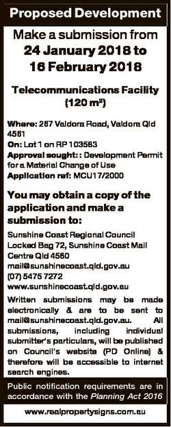 Proposed Development Make a submission from 24 January 2018 to 16 February 2018 Telecommunications F...