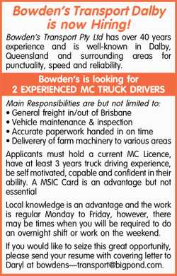 Bowden's Transport Dalby is now Hiring!   Bowden's Transport Pty Ltd has over 40...
