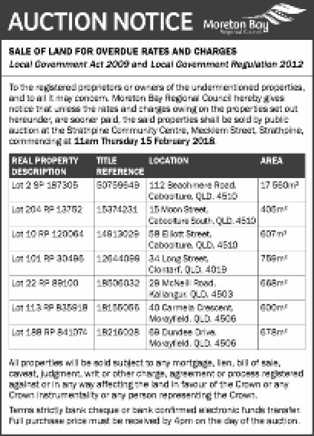 SALE OF LAND FOR OVERDUE RATES AND CHARGES