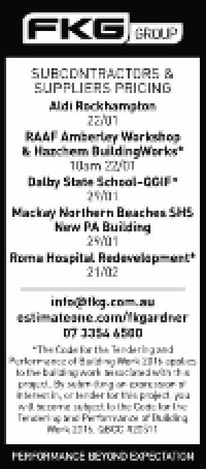 SUBCONTACTORS AND SUPPLIERS PRICING:   Aldi Rockhampton   22/01   RAAF Amberley Works...