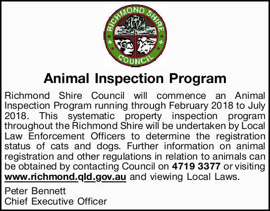 Animal Inspection Program Richmond Shire Council will commence an Animal Inspection Program runni...