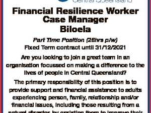 6744942aa Financial Resilience Worker Case Manager Biloela Part Time Position (26hrs p/w) Fixed Term contract until 31/12/2021 Are you looking to join a great team in an organisation focussed on making a difference to the lives of people in Central Queensland? The primary responsibility of this position ...