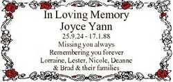 In Loving Memory Joyce Yann 25.9.24 - 17.1.88 Missing you always Remembering you forever Lorraine, L...