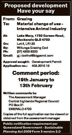 Proposed development Have your say From: Grazing To: Material change of use Intensive Animal industr...