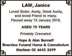 LAW, Janice Loved Sister, Aunty, Great Aunty, and loved Friend to many. Passed away 12 January 2018....