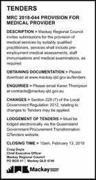 TENDERS MRC 2018-044 PROVISION FOR MEDICAL PROVIDER