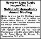 Newtown Lions Rugby League Club Ltd Notice of Extraordinary Annual Meeting
