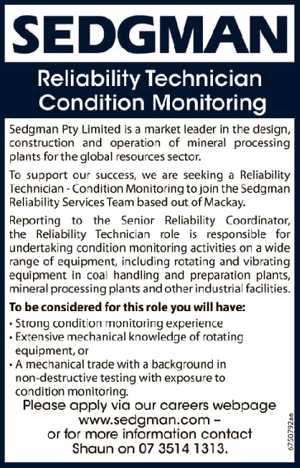 Reliability Technician - Condition Monitoring