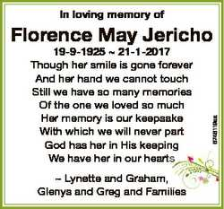 In loving memory of 19-9-1925  21-1-2017 Though her smile is gone forever And her hand we cannot tou...