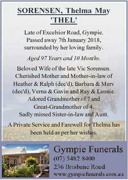 SORENSEN, Thelma May 'THEL' Late of Excelsior Road, Gympie. Passed away 7th January 2018, su...