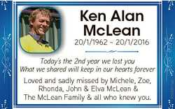 Ken Alan McLean TToday's d ' the h 2nd year we lost you What we shared will keep in our hear...