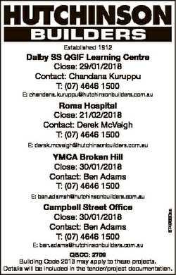 Established 1912 Dalby SS QGIF Learning Centre Close: 29/01/2018 Contact: Chandana Kuruppu T: (07) 4...