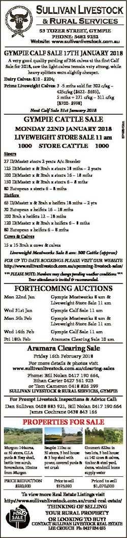 53 TOZER STREET, GYMPIE PhOnE: 5482 9252 Website: www.sullivanlivestock.com.au GYMPIE CALF SALE 17Th...