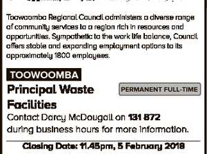 JOBS AT council Toowoomba Regional Council administers a diverse range of community services to a region rich in resources and opportunities. Sympathetic to the work life balance, Council offers stable and expanding employment options to its approximately 1800 employees. TOOWOOMBA Principal Waste Facilities PERMANENT FULL-TIME Contact Darcy McDougall on 131 ...