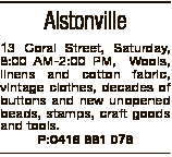 Alstonville 13 Coral Street, Saturday, 8:00 AM-2:00 PM, Wools, linens and cotton fabric, vintage clo...