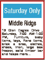 Middle Ridge 19 Glen Eagles Drive , Saturday, 7:00 AM-1:00 PM, Furniture, baby items, toys, Reno ite...