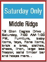 Middle Ridge 19 Glen Eagles Drive , Saturday, 7:00 AM-1:00 PM, Furniture, baby items, toys, Reno ite...