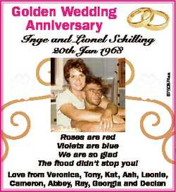 Golden Wedding Anniversary Inge and Lionel Schilling 6750874aa 20th Jan 1968 Roses are red Violets a...